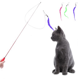 Wholesale Play Train - Cat Pet Toys Funny Cats Telescopic Rod Stick Feather Toys for Cats Kitten Kitty Play with Cat for Training