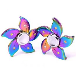 Wholesale Toy Deep - Rainbow Hand spinner Rainbow Deep Groove Frame Metal Caps Hybrid Ceramic BearingTri Hand Spinner Toys Special Design Free DHL shipping