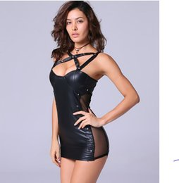 Wholesale Wholesale Sex Clothes - 30 Plus Size S M L Free Shipping Women Black Sexy Leather Dress Latex Club Wear Costumes Clothing Lingerie Catsuits Cat Suits Sex Produc