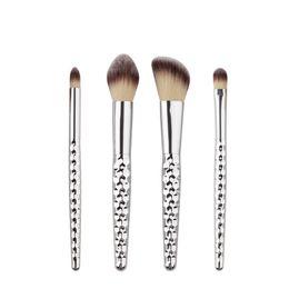 Wholesale Make Up Brushe - New Silver 4PCS Honeycomb Smudge Brush Eyeshadow Eyebrow Eyeliner Blush Concealer Brushes Make Up Brushes Tools Makeup Brushe Kit