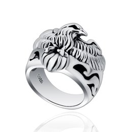 Wholesale Eagle Wings Rings - S925 Silver Jewelry Silver Eagle Wings personality Seiko men's ring wise ring of the new hot wholesale and retail free shipping