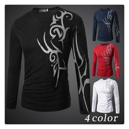 Wholesale Tattoo Shirt Red - T-shirts for Men Spring&autumn Bottoming T-shirt Tattoo Sprinting Men's Casual Slim Fit Long Sleeves Sports T-shirts US Size:XS-L