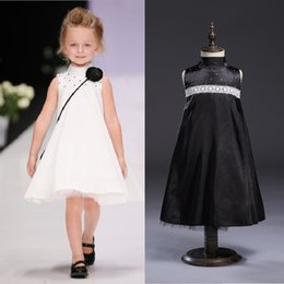 Wholesale White Uniform Skirts Girls - White Baby Girls Dress Kid Formal Dresses Flower Girl Clothes Children Party Uniform Ball Gown Top Quality One-Piece Dress 3-9Y Skirts