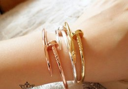 Wholesale 18k gold rings forever love - 2017 New Arrival Top quality Rose Gold Silver 18K Gold forever love Nail Bangle for women with crystal