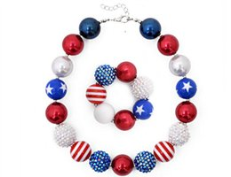 Wholesale Amber Chunky Necklace - Necklace Bracelet Set Kids American Flag Style Chunky Bubblegum 2pcs Child Girl Chunky Beads Jewelry Set children jewelry
