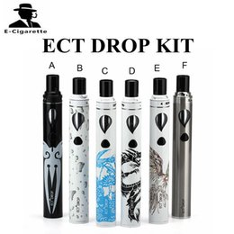 Wholesale E Cigarette Liquid Kits - ECT DROP Kit With 2ml Liquid Capacity 2200mAh Battery E cigarette Starter Kit 6 Colors DHL Free