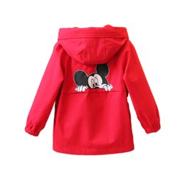 Wholesale 8years Girl - little kids causal trench coat cartoon mickey cotton trench jacket for 2-8years children boys girls outerwear clothes coat hot