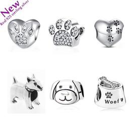 Wholesale Dog Jewelry Charms - 925 Sterling Silver Curious Cat Panda Lion Dog Animal Charm Fit Pandora Bracelet Jewelry With Clear CZ DIY Jewelry heart Makin