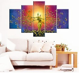 Wholesale Canvas Art Figure - Unframed 5 Panels Abstract Art Abstract Oil Painting High Quality Canvas Art Beautiful Bedroom Living Room Wall Decoration