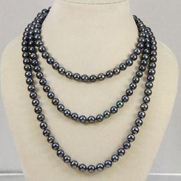 "mixed akoya pearls Canada - New 6-7mm Black real akoya Cultured Pearl Necklace 50"""