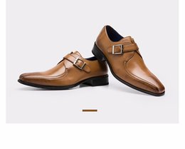 Wholesale Mens Casual Formal Shoes - Mens casual luxury brand designer genuine leather formal wedding dress shoes single monk buckle strap flat shoes zapatos hombre