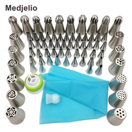 Wholesale Silicone Cake Tools - Medjelio 70Pcs Russian Tulip Nozzle Bakeware Icing Piping Tips Baking Pastry Cake Decorating Tools 1 pcs silicone bag 2 coupler