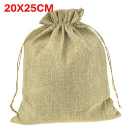 Wholesale Packaging Shoe Bags Drawstring - Wholesale-Large Natural Jute Sack Drawstring Bags Shoes Scarf Clothes Sock Dress Storage Packaging Bag For Home store 20x25cm 50pcs