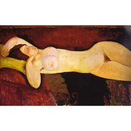 Wholesale Nude Lady Oil Paintings - Hand Painted Portrait art lady Le grand Nu (The great nude) Amedeo Modigliani abstract paintings home decor