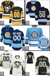 Wholesale Best Sewing - 2016 Customize Mens Pittsburgh Penguins Black White Blue Hockey Jerseys 2014 Sewing On Best Jerseys Customized Your Own Name Number Jerseys
