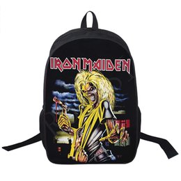 Wholesale Iron Rocks - Wholesale- Band Iron Maiden Backpack Metallica Punk Backpack Men Women Guns N' Roses Street Rock Backpacks For Teenage Hip Hop School Bags