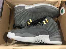 Wholesale 12 Boxes - 2017 Air Retro 12 Dark Grey Basketball Shoes High Quality Men Basketball Sneaker 12s Bordeaux Sports Sneakers With Shoes Box
