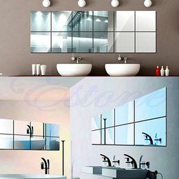 Wholesale Wall Paper Mirror - Wholesale-16Pcs Self-adhesive Decorative Mirrors Tiles Mirror Wall Stickers Mirror Decor