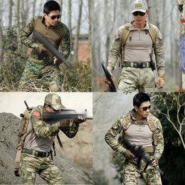 Wholesale Tactical Pants Acu - Army Uniforms 2Knee Pads As Gift Military Uniform ACU Camouflage Tactical Hunting Clothes Combat Shirt+Pant Uniforme Militar Outdoor Suits