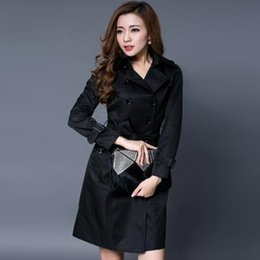 Wholesale Woman Double Breasted Dress Coat - Black khaki red woman spring coat England Double-breasted slim trench coats for womens star style dress female british style
