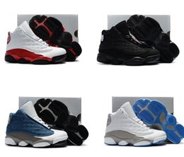 Wholesale Boys Patent Leather Shoes - Free Shipping Kids Retro 13 Basketball Shoes Boys Girls OVO 13s French Blue The Master Taxi Sports Shoes Toddlers Children Sneakers 28-35