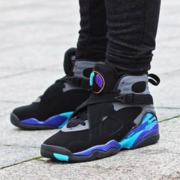 Wholesale Air Aqua - (with box) AAA+ quality air retro 8 VIII men basketball shoes Aqua black purple All Star retro 8 Athletic sports shoes sneakers 41-47