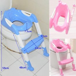 Wholesale Kids Plastic Folding Chairs - Large Potty Chair Training Toilet Seat Toddler Folding Adjustable Kids Step Stool BPA Free 100% plastic food grade blue geen