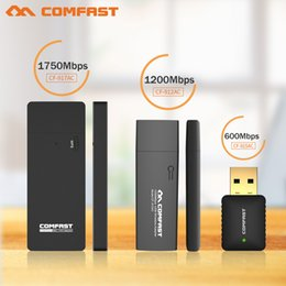 Wholesale Dual Band Wireless Adapter - Wholesale- COMFAST 600M 1200M 1750Mbps usb wireless network card 802.11AC Dual Band 2.4Ghz 5Ghz USB Wireless WI-FI Adapter &AC WI-FI dongle
