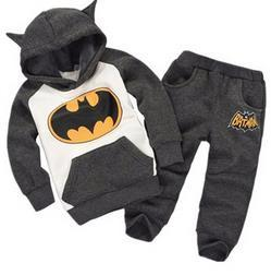 Wholesale Hooded Tracksuit Boys - New autumn winter boy set 2017 batman Children Tracksuit kids clothing suit boys and girls hoodie+trousers 2 PCS set