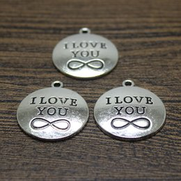 Wholesale Tibetan Silver Love Word Charms - 20pcs--24x28mm Antique Tibetan silver I love you Charms Disc Word Charms pendant for jewelry making