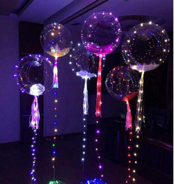 Wholesale Cheer Balloons - BOBO balloon multicolor LED glow party holiday decorations Helium LED Poms Cheer Items Lighted Toys