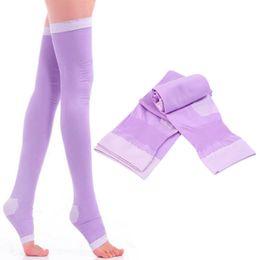 2019 meias caramelo Venda por atacado- Respirável Lady Compression Knee Toe Meias Queimar Gordura Leg Veias Varicosas Coxa Alta Estoque Quente!