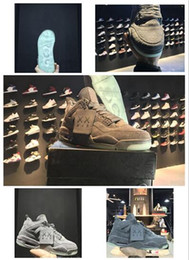 Wholesale Glowing Glitter Dark - Wholesale KAWS Air Retro 4 Cool Grey Glow In the Dark Mens cheap Basketball Shoes Sneaker Limited Edition 4s Grey Suede Sports Shoe