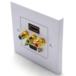 Presa di corrente standard online-1 HDMI + 1 VGA + 3 RCA Femmina Audio Video Wall Plate Presa Uscita Face Panel 1080P HDTV 5 Porte ABS bianco