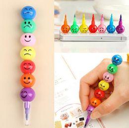 Wholesale Old Crayons - Creative Sugar-Coated Haw Cartoon Smiley Graffiti Pen 7 Colors Crayon Wax Pencil G643