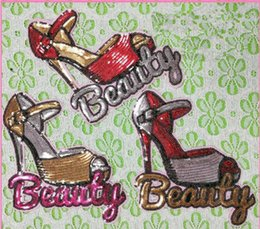 Wholesale Wholesale Clothes Heel - Beauty Red with letter High heels shoes sewing sequin Patches Applique Cartoon Patch grils clothes accessory wholesale