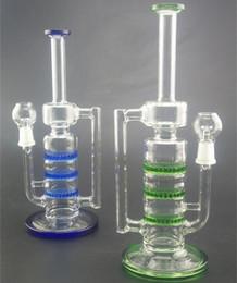 Nuevo bong de vidrio tres discos Honeycomb azul color verde 26 cm de alto vaso de vidrio de vidrio pipa de agua desde fabricantes