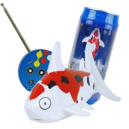 Wholesale Shark Radio Control - Wholesale- Red White Coke Can RC Mini Radio Remote Control Shark Fish Kids Electric Water Game Toy Hot