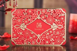 Wholesale Laser Cut Wedding Invitations Wholesale - Red Laser Cutting Wedding Invitations Card with Envelope Seal Sticker Hollow Flower Chinese Wedding & Events Favor Supplies Customized