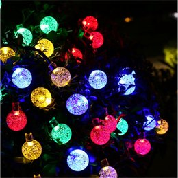 Wholesale Led Strip 6m - High Quality Solar Powered Led Outdoor String Lights 6M 30LEDs Crystal Ball Globe Fairy Strip Lights for Outside Garden Party Christmas