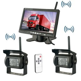 "Cámara de reserva nocturna online-Wireless Dual Backup Cameras Car Parking Assistance Night Vision impermeable Rearview Camera 7 ""Monitor Kit para RV Truck Trailer Bus"