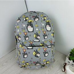 Wholesale Totoro Canvas - Wholesale- Lovely Totoro Printing Canvas Backpack Korean Styles of School Bags H755