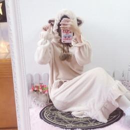 Wholesale Flannel Nightgowns Women - Wholesale- Warm Women Pajamas Winter Thickening Coral Fleece Robe Female Long Design Flannel Sleepwear Women Bathrobe Nightgown Lounge 244
