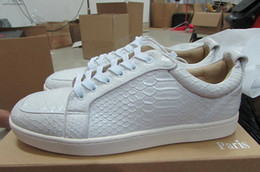 Wholesale Low Cut Skating Shoe - Low Cut Snakeskin Red Bottom Sneakers Python Leather Skate Sneakers Mens Womens Casual Shoes Brand New Comfort Wholesale Price 36-46