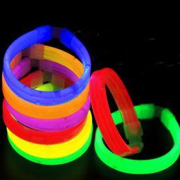 Wholesale Neon Bracelet Fluorescence - 15*200mm Multi Color Glow Fluorescence Light Sticks Bracelet Necklace Light Neon Xmas Party Flashing Toy ZA3975