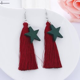 Wholesale Long Silk Earrings - New fashion silk wine red big tassel earrings geometric stars long earrings dress fashion accessories
