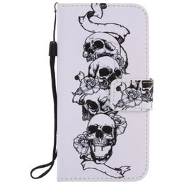 Wholesale S3 Case Painting - Painted Skull flip leather case for Samsung Galaxy S3 S4 S5 S6 S7 edge card cover Card slot wallet with kickstand phone stand