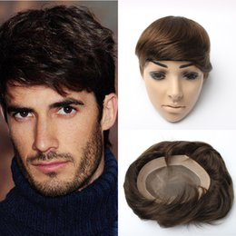 Wholesale Brown Mens Wig - Top quality #4 brown color Brazilian hair mens toupee Super Durable and Super Thin Skin toupee 7x9 wig inch in stock