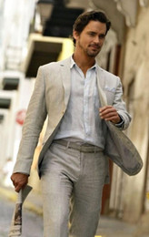 Wholesale Custom Wedding Linens - 2017 Casual Light Grey Linen Men Wedding Suits Summer Notched Lapel Grooms Tuxedos Two Piece Men Suits Two Button Slim Fit Groomsmen Suit