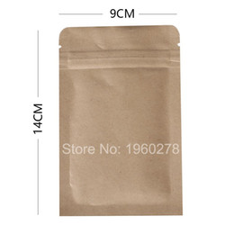 Wholesale Kraft Paper Zipper Top Bags - 9x14cm (3.5x5.5in) 100pcs Reclosable Package Flat Pouch 14 Wire Tear Notch Brown Kraft Paper Bags With Zipper Top